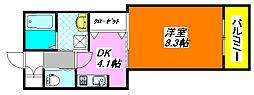 エバーグリーン・長田202号室[2階]の間取り