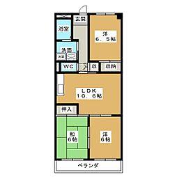 本宮ハイツ山田[4階]の間取り