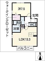 セジュールコート 南棟[1階]の間取り