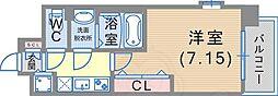 Luxe東灘 6階1Kの間取り