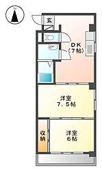 志賀本通ハイツ[4階]の間取り