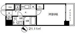 エスリード大阪城 4階1Kの間取り