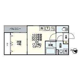 名古屋市営名港線 日比野駅 徒歩5分の賃貸アパート 2階1DKの間取り