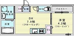 JR東西線 加島駅 徒歩4分の賃貸アパート 2階1DKの間取り