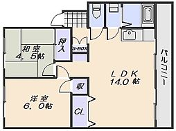 コーポ木下[4階]の間取り