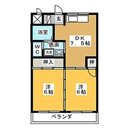 コーポミカド[2階]の間取り