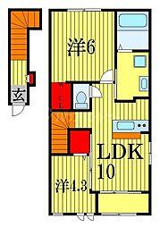 JR総武線 船橋駅 徒歩17分の賃貸アパート 2階2LDKの間取り