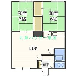 北海道札幌市東区北四十一条東2丁目の賃貸アパートの間取り