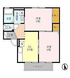 フローラハイツA[1階]の間取り