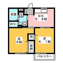 静岡県浜松市中区葵西5丁目の賃貸アパートの間取り