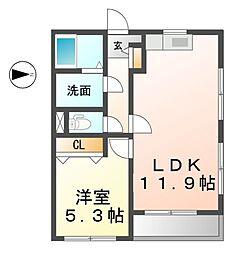 JR東海道本線 稲沢駅 徒歩5分の賃貸アパート 2階1LDKの間取り