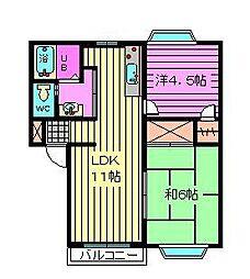 埼玉県さいたま市大宮区北袋町2丁目の賃貸アパートの間取り