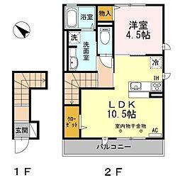 長野県長野市上松2丁目の賃貸アパートの間取り