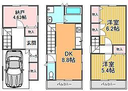 南海高野線 北野田駅 バス11分 中茶屋下車 徒歩5分 2SDKの間取り