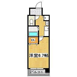 プレサンス京都四条烏丸クロス[606号室]の間取り