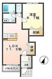 茨城県つくば市みどりの東の賃貸アパートの間取り