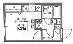 COCOCUBE井草 5階ワンルームの間取り