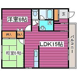 北海道札幌市北区篠路六条3丁目の賃貸アパートの間取り