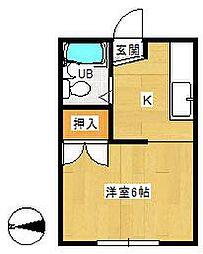 神奈川県平塚市達上ケ丘の賃貸アパートの間取り