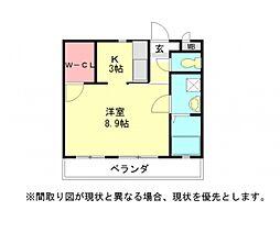 愛知県小牧市大字文津の賃貸アパートの間取り