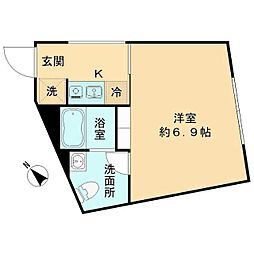 都営三田線 春日駅 徒歩8分の賃貸マンション 3階1Kの間取り