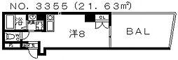 プライムタワー阿倍野40[3階]の間取り