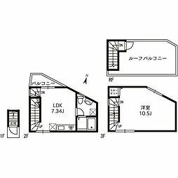 東武伊勢崎線 梅島駅 徒歩7分の賃貸アパート 2階1LDKの間取り