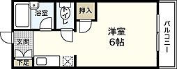 JR山陽本線 宮内串戸駅 徒歩12分の賃貸マンション 3階1Kの間取り