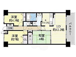 阪急千里線 山田駅 徒歩18分の賃貸マンション 6階3LDKの間取り