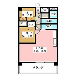 愛知県長久手市富士浦の賃貸マンションの間取り