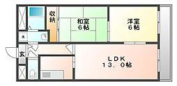 岡山県岡山市北区西島田町の賃貸マンションの間取り