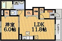 京都府京都市伏見区下鳥羽広長町の賃貸アパートの間取り