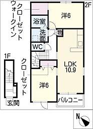 ラ・ルーチェ B[2階]の間取り