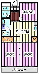 埼玉県さいたま市南区内谷6丁目の賃貸マンションの間取り