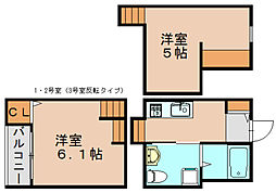 福岡県福岡市東区筥松2丁目の賃貸アパートの間取り