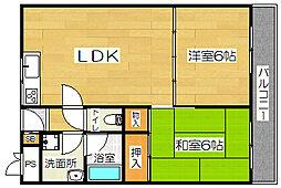 大阪府茨木市小柳町の賃貸マンションの間取り