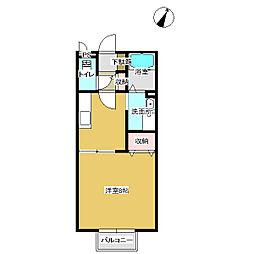 広島県福山市南本庄2丁目の賃貸アパートの間取り