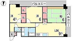 兵庫県神戸市東灘区田中町2丁目の賃貸マンションの間取り