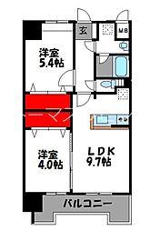 JR鹿児島本線 千早駅 徒歩4分の賃貸マンション 13階2LDKの間取り