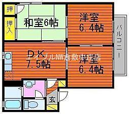 岡山県岡山市北区田中丁目なしの賃貸アパートの間取り