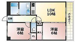 パルコート浅井[6階]の間取り
