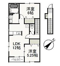 岡山県赤磐市高屋の賃貸アパートの間取り