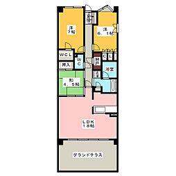 プラウド昭和楽園町テラス[1階]の間取り
