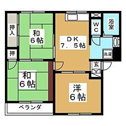 ロイヤルハウス八乙女A[2階]の間取り