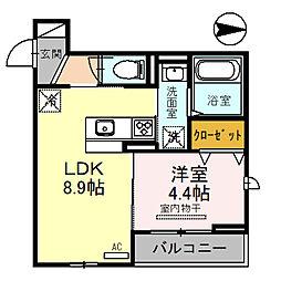 南海高野線 金剛駅 徒歩3分の賃貸アパート 2階1LDKの間取り