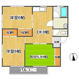 ファミーユ新涯[C201号室]の間取り