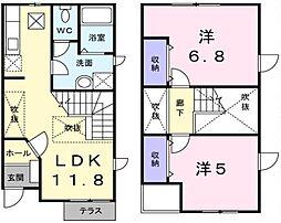 埼玉県越谷市相模町1丁目の賃貸アパートの間取り