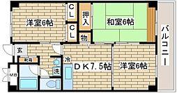 兵庫県神戸市須磨区車字大道の賃貸マンションの間取り