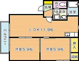 福岡県北九州市八幡西区永犬丸4丁目の賃貸アパートの間取り