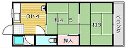 大阪府高槻市宮田町2丁目の賃貸アパートの間取り